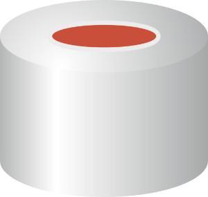 Crimp closure, N 8, aluminium, center hole, Red Rubber/FEP colour, 1,0 mm