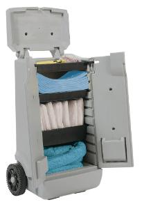 Spill kits, oil-only sorbent, mobile trolley