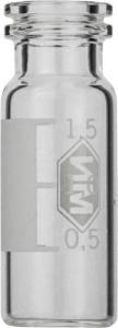 Snap ring/crimp neck vial, N 11, 11,6×32,0 mm, 1,5 ml, label, flat bottom, clear