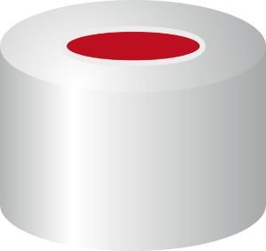 Crimp closure, N 8, aluminium, center hole, PTFE red/Silicone white/PTFE red, 1,0 mm