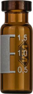 Crimp neck vial, N 11, 11,6×32,0 mm, 1,5 ml, label, flat bottom, amber