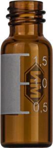 Screw neck vial, N 8, 11,6×32,0 mm, 1,5 ml, label, flat bottom, amber